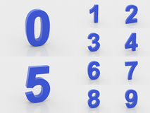 3d blue numbers from 0 to 9. On white background Stock Image