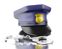 3d Blue officer cop cap with handcuffs. 3d Illustration. Blue officer cop cap with handcuffs.  white background Royalty Free Stock Image