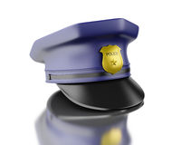 3d Blue officer cop cap on white background. 3d Illustration. Blue officer cop cap.  white background Royalty Free Stock Images