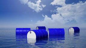 3D blue  oil drums floating on sea surface. With blue sky Stock Photo