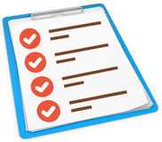 3d blue pad holder with check boxes. On white background Stock Image