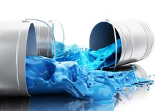 3d Blue paint splashing out of cans. 3d illustration. Blue paint splashing out of cans. Isolated white background Royalty Free Stock Photography