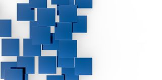 3D blue plane Cubes groupd stairs puzzle isolated on white background. Style Royalty Free Stock Image