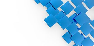 3D blue plane Cubes groupd stairs puzzle isolated on white background. Style Royalty Free Stock Images