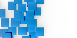 3D blue plane Cubes groupd stairs puzzle isolated on white background Stock Photos