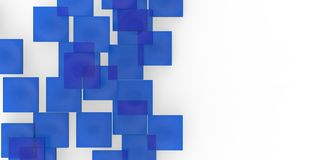 3D blue plane Cubes groupd stairs puzzle  on white background. Style Stock Photo