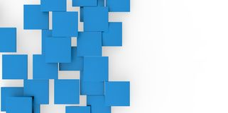3D blue plane Cubes groupd stairs puzzle  on white background. Style Stock Photos