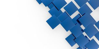 3D blue plane Cubes groupd stairs puzzle  on white background Stock Image