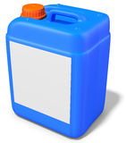 3d blue plastic canister, container. On white background 3D illustration Stock Photography