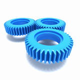 3d Blue plastic gear cogs Stock Photos