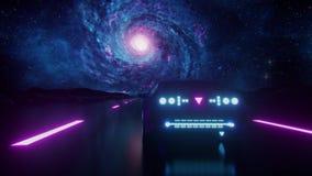 3D Blue Purple Synthwave Galaxy Retro Landscape VJ Loop Motion Background