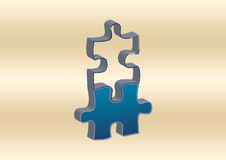 3D Blue Puzzle Piece Royalty Free Stock Photos
