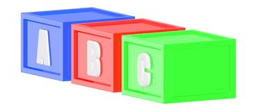 3d blue red green color cubes with a b c in it respectively. 3d rendering stock illustration