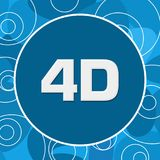 4D Blue Rings Abstract Background. 4D text written over blue background Royalty Free Stock Image