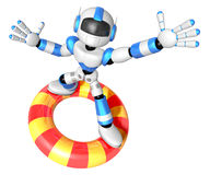 3d Blue robot character surfing on lifebuoy. Create 3D Humanoid Stock Images