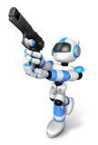 3D blue Robot  fire an aimed shot a automatic pistol. Create 3D Royalty Free Stock Photo