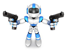 3D Blue Robot Mascot holding a Automatic pistol with both hands. Royalty Free Stock Images