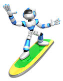 3D Blue robot is riding a surf board to the left. Create 3D Huma Stock Images