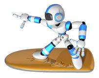 3D Blue robot is riding a surf board to the left. Create 3D Huma Royalty Free Stock Photos