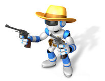 The 3D Blue Robot sheriff holding a revolver gun with both hands Stock Image