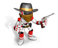 The 3D Blue Robot sheriff holding a revolver gun with both hands Stock Photos