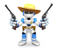 The 3D Blue Robot sheriff holding a revolver gun with both hands Royalty Free Stock Photography