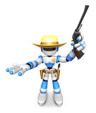 3D Blue Robot sheriff the left hand guides and the right hand is Stock Image