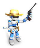 3D Blue Robot sheriff the left hand guides and the right hand is Stock Images