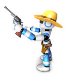 3D Blue Robot sheriff  Royalty Free Stock Photography