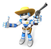 3D Blue Robot sheriff the right hand best gesture and left hand Royalty Free Stock Photo