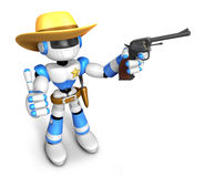 3D Blue Robot sheriff the right hand best gesture and left hand Royalty Free Stock Image