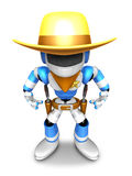 3D blue Robot Sheriff is taking pose a gunfight. Create 3D Human Stock Photo