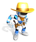3D blue Robot Sheriff is taking pose a gunfight Stock Photography