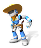 3D blue Robot Sheriff is taking pose a gunfight Royalty Free Stock Photography