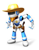3D blue Robot Sheriff is taking pose a gunfight Royalty Free Stock Images