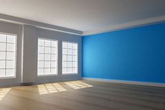 3d blue room with windows. 3D rendering of interior room with filtered lighting through windows and a blue wall Royalty Free Stock Photography