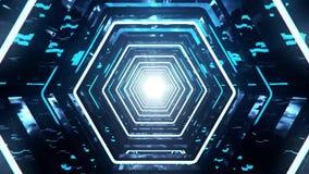 3D Blue Sci-Fi Hexagon Tunnel VJ Loop Background. 3D Blue Sci-Fi Hexagon Tunnel VJ Loop Motion Background stock video footage
