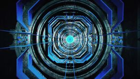 3D Blue Sci-Fi Metal Tunnel Loopable Motion Background stock footage