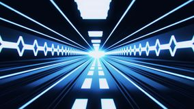 3D Blue Sci-Fi Tron Tunnel Loopable Motion Background stock footage