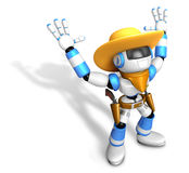 3D Blue Sheriff robot with both hands in a gesture of surrender. Royalty Free Stock Photo