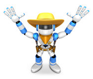 3D Blue Sheriff robot with both hands in a gesture of surrender. Stock Photo