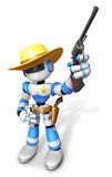 3D Blue Sheriff robot is holding a revolver gun pose. Create 3D Royalty Free Stock Photo