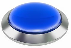 3d blue shiny button. Round glass web icons with chrome frame. On white background. 3d illustration Stock Photography