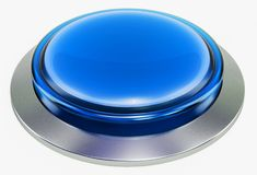 3d blue shiny button. Round glass web icons with chrome frame. On white background. 3d illustration Royalty Free Stock Image