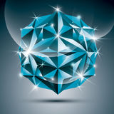 3D blue shiny sphere. Vector fractal dazzling abstract illustrat Royalty Free Stock Photography