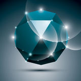 3D blue shiny sphere. Vector fractal dazzling abstract. Illustration - eps10 jewel. Gala theme Royalty Free Stock Images