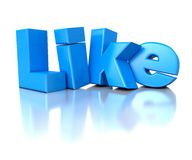 3d blue shiny text Like - social networks concept. On white background Stock Photo