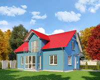 3d - blue single family house - autumn - day. 3d render - blue single-family dwelling in blossoming nature in autumn on the day Royalty Free Stock Photo