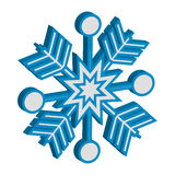 3D blue snowflake on white background. Vector illustration Stock Photography