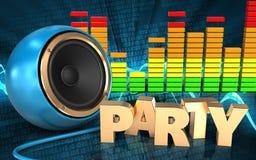 3d blue sound speaker party sign Stock Images
